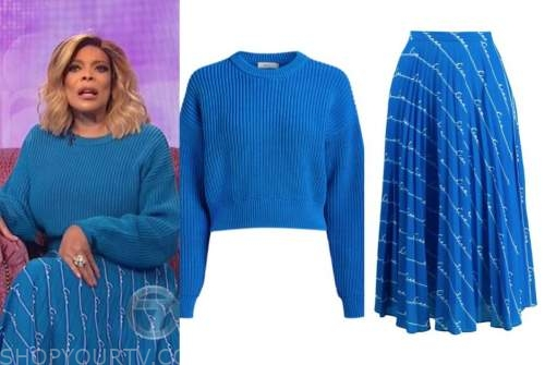 wendy williams, the wendy williams show, blue sweater, blue pleated skirt