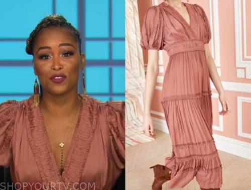 eve, the talk, pink coral metallic pleated midi dress