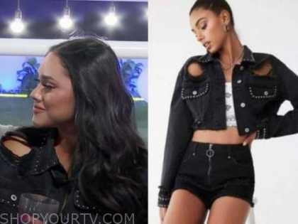 love island usa, black distressed studded jean jacket, cely