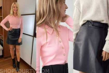 holly willoughby, this morning, pink polo knit top, leather mini skirt