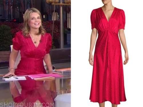 savannah guthrie, red satin jacquard midi dress, the today show