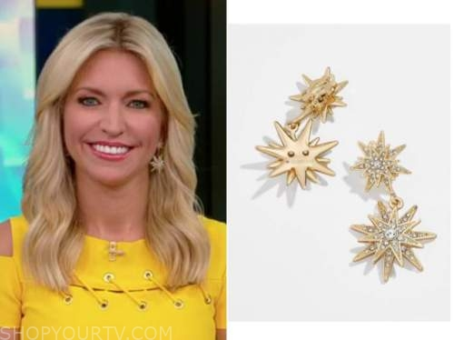 ainsley earhardt, fox and friends, yellow dress, star earrings