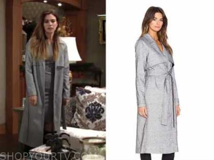 victoria newman, amelia heinle, the young and the restless, grey coat