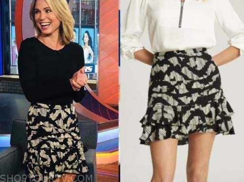amy robach, black and white printed skirt, good morning america
