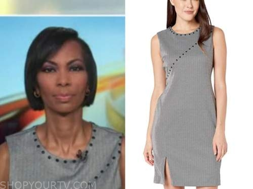 harris faulkner, outnumbered, grey herringbone studded sheath dress