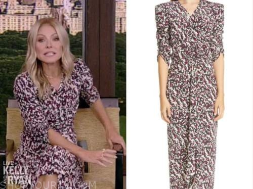 kelly ripa, live with kelly and ryan, printed v-neck midi dress