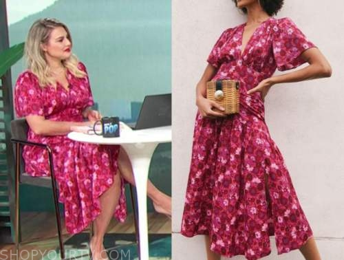 carissa culiner, red and pink floral midi dress, E! news, daily pop
