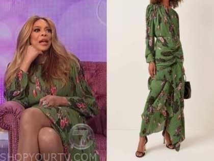 wendy williams, the wendy williams show, green floral pleated dress