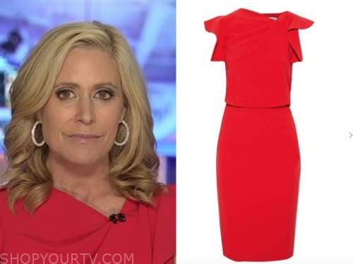 melissa francis, outnumbered, red ruffle sheath dress