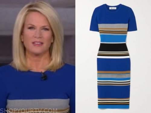martha maccallum, outnumbered, blue striped knit midi dress