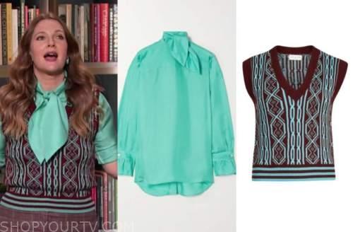 drew barrymore, drew barrymore show, green tie neck top, sweater vest