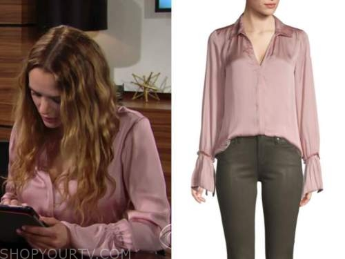 summer newman, hunter king, pink bell sleeve blouse, the young and the restless