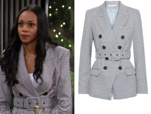 amanda sinclair, mishael morgan, gingham belted blazer, the young and the restless