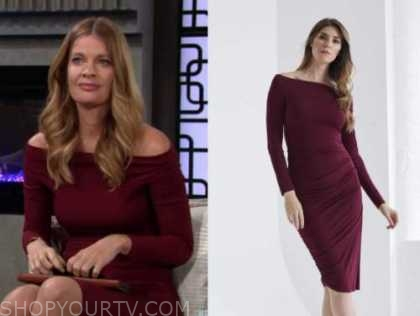 phyllis newman, michelle stafford, the young and the restless, burgundy off-the-shoulder dress