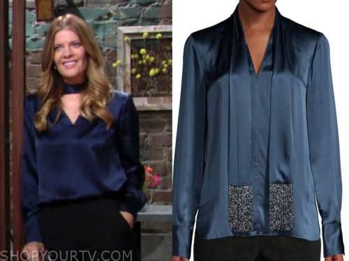 phyllis newman, michelle stafford, the young and the restless, blue satin tie neck blouse