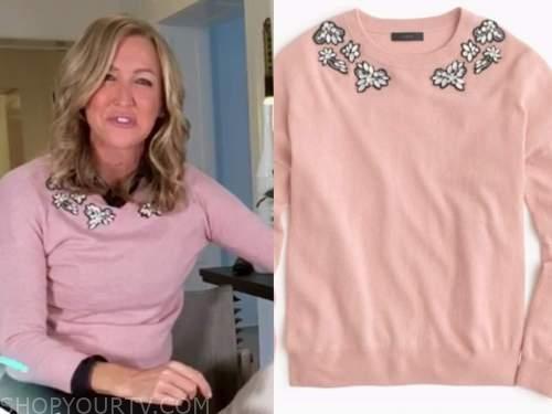 lara spencer, good morning america, pink embellished sweater