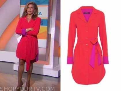 hoda kotb, red shirt dress, the today show