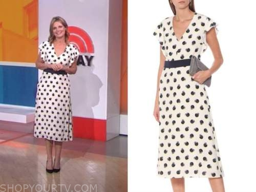 savannah guthrie, the today show, fruit dot belted midi dress