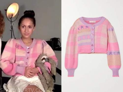 emme muniz, the today show, pink stripe puff sleeve cardigan sweater, jlo's daughter