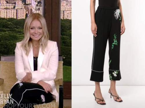 kelly ripa, live with kelly and ryan, black side stripe floral crop pants