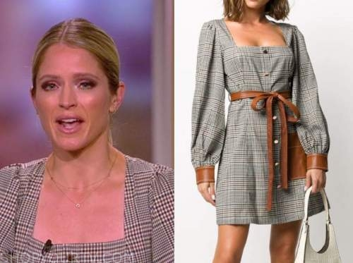sara haines, the view, check square neck dress