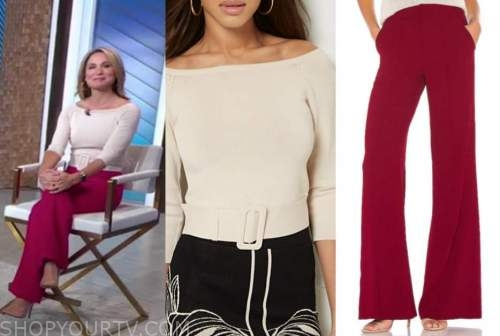 good morning america, amy robach, beige belted top, red pants