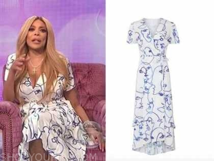 wendy williams, the wendy williams show, blue and white printed wrap dress