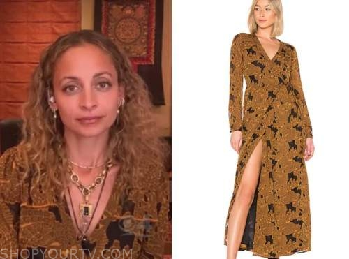 nicole richie, drew barrymore show, mustard printed wrap maxi dress