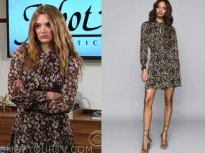 summer newman, hunter king, the young and the restless, floral keyhole dress