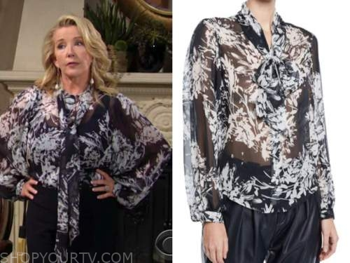 nikki newman, melody thomas scott, the young and the restless, floral tie neck blouse