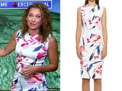 ginger zee, white floral sheath dress, good morning america