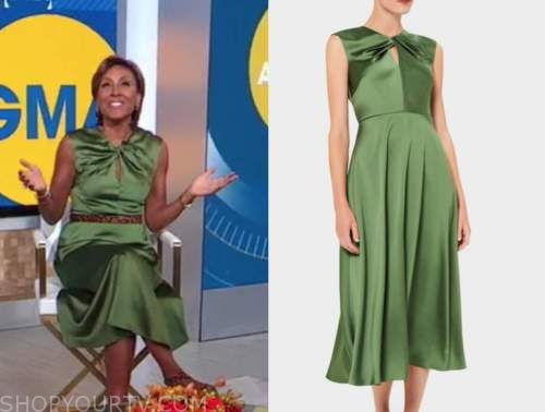 robin roberts, good morning america, green satin dress