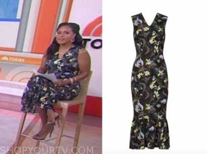 sheinelle jones, the today show, floral sheath dress