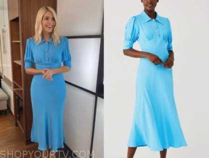 holly willoughby, this morning, blue satin midi dress