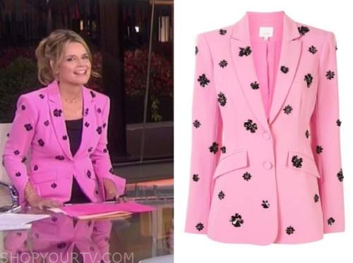 savannah guthrie, pink and black embellished blazer, the today show