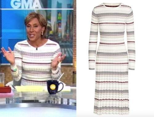 robin roberts, good morning america, white striped knit ribbed dress