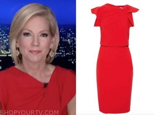 shannon bream, red dress, fox news at night