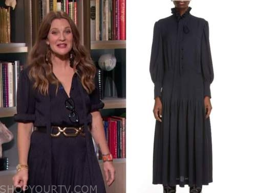 drew barrymore, drew barrymore show, navy blue houndstooth tie neck midi dress