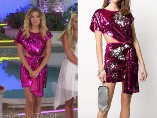 arielle vandenberg, pink sequin cutout drape dress, love island usa season 2