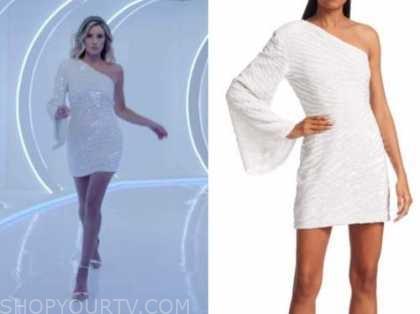 arielle vandenberg, white sequin zebra one-shoulder dress, love island usa