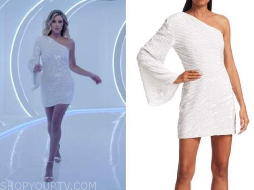 arielle vandenberg, white sequin zebra one-shoulder dress, love island usa