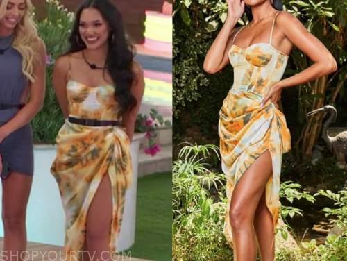 cely, love island usa, orange floral corset drape dress