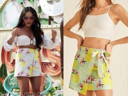 cely, love island usa, lemon print wrap skirt