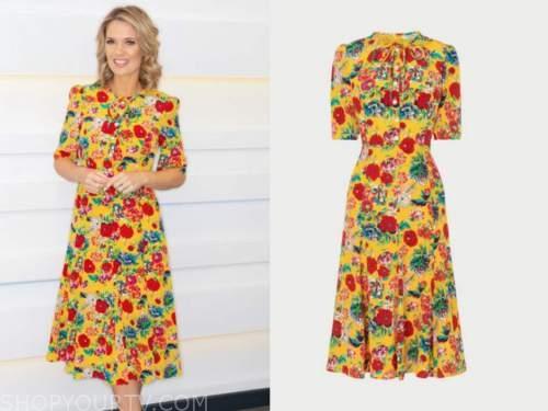 charlotte hawkins, good morning britain, yellow floral midi dress