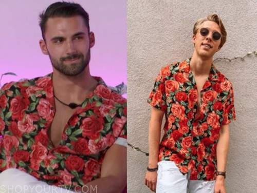 connor, love island usa, rose print shirt