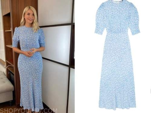 holly willoughby, blue and white printed dress, this morning