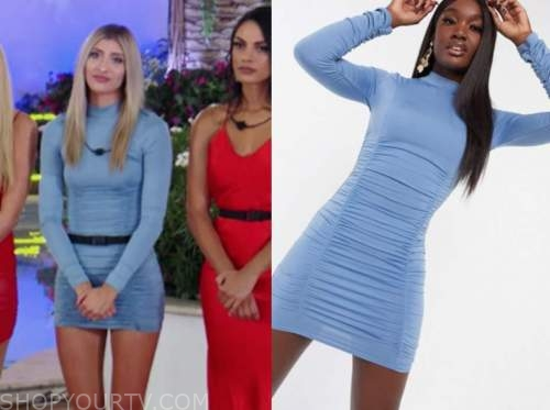 lakeyn, love island usa, blue ruched mock neck dress