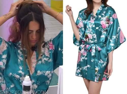 love island usa, lauren, teal floral silk robe