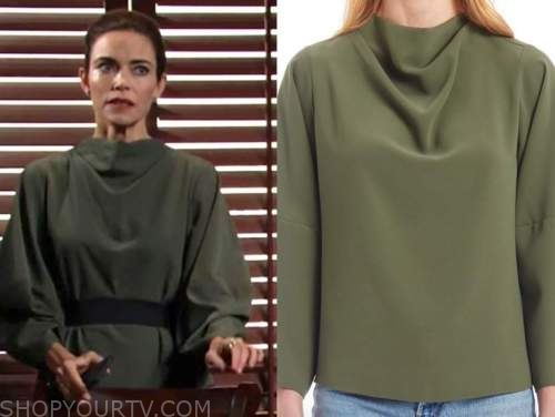 victoria newman, amelia heinle, the young and the restless, green drape top