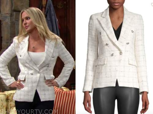sharon newman, sharon case, the young and the restless, ivory double breasted blazer